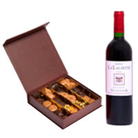 Chocolate Box And Bottle Of Red Wine